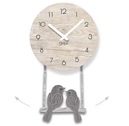 DEKORI - Orologio da Parete Cucina con Uccellini a Pendolo. Preciso E Silenzioso. Arreda e Rallegra ogni Ambiente della Casa. DEKORI, Made In Italy.