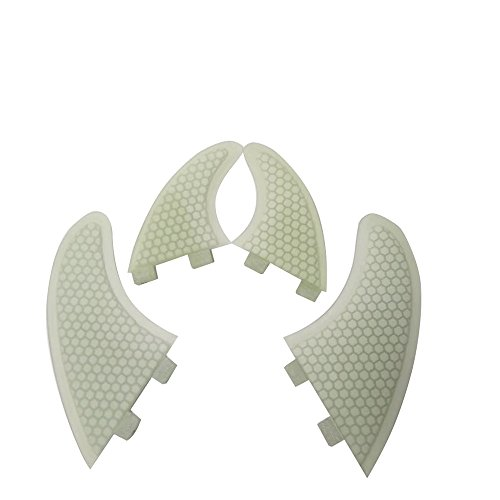 UPSURF Tabla de Surf Quad Aletas Fibra de Vidrio Fin Estilo Gemelo Aleta Set + GX Tener Panal Tabla de Paddle (FCS-Transparent)