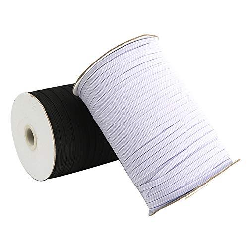 KNMY Elastische Kordel Heavy Stretch String geflochtenes elastisches Band, elastisches Seil 200 Yard Nähen Elastische Spule für Handwerk Kleidung Nähen Handwerk DIY Maske Wide 6mm weiß