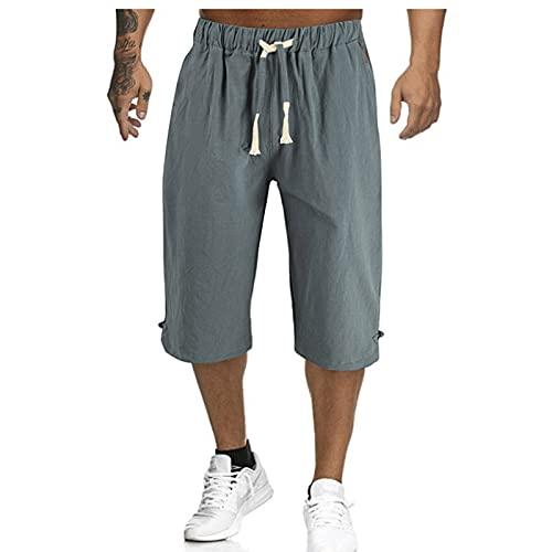 Men Casual Short Pants Cargo Shorts Plus Size Drawstring Waist Solid Cotton Linen Seven Points Pants (Green, 3X-Large)