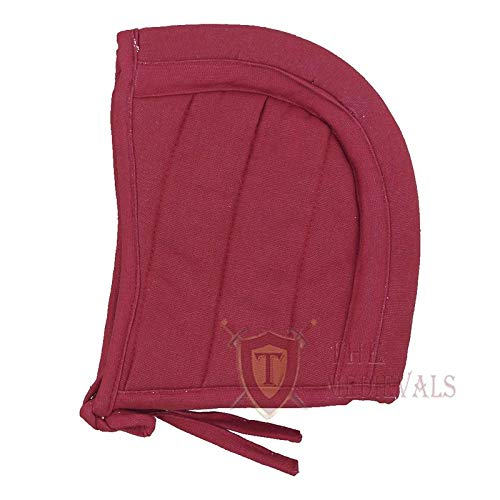The Medival Shop Gambeson Medieval Cotton Hood SCA Costume Armor - Red