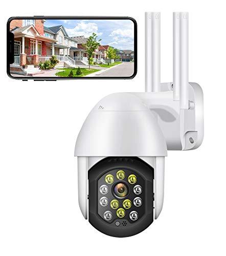 PTZ IP Camera Esterno con Rilevazione Movimento Telecamera WiFi con IP66 Visione Notturna Impermeabile 2 Vie Audio Compatibile con IOS/Android