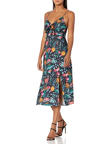 findersKEEPERS Women's Sleeveless V-Neck Sally Cut-Out Midi Dress, Black Tropical, M