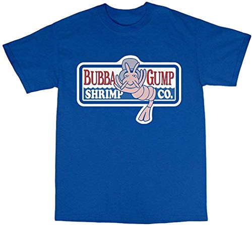 Bees Knees Tees Bubba Gump Shrimp Forrest T-Shirt Cotton,Royal-Blue,Medium