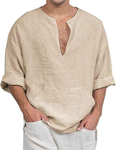 COOFANDY Herren Leinen Freizeithemd Langarm Männer Sommer Hemd Casual Regular Fit Shirt