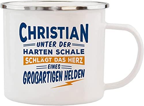 History & Heraldry Tazza smaltata con scritta 'Christian'