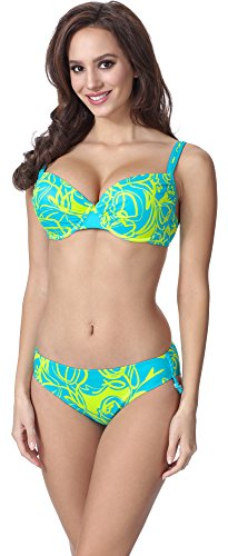 Feba Figurformender Damen Push Up Bikini F01A 2 (Muster-325, Cup 85E / Unterteil 42)