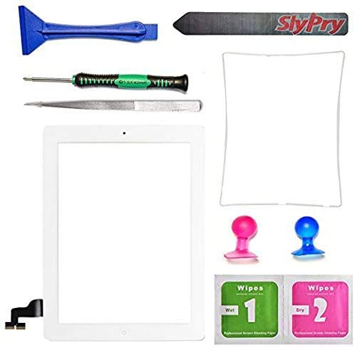 Prokit Adhesive New White iPad 2 Digitizer Touch Screen Front Glass Assembly - Includes Home Button + Camera Holder + PreInstalled Adhesive with SlyPry Tools kit (White)