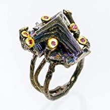 Handmade Jewelry Natural Bismuth 23x14 mm. 925 Sterling Silver Ring Size 7 us / AZR02012