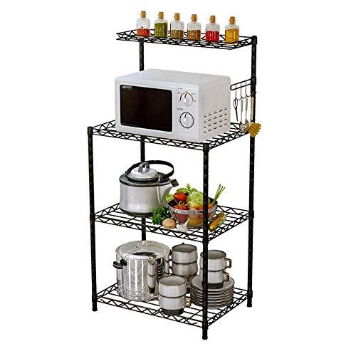 ZYL-YL Nivel 3 rack de microondas soporte de cocina horno de carro con estantes de malla de alambre ganchos Acabado Negro (Color: Negro, Tamaño: 122X58X35CM)
