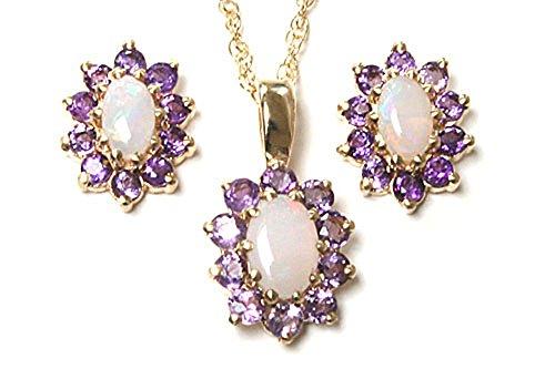Con ametista e opale, in oro 9 kt con ciondolo ovale a grappolo, catenina e orecchini.