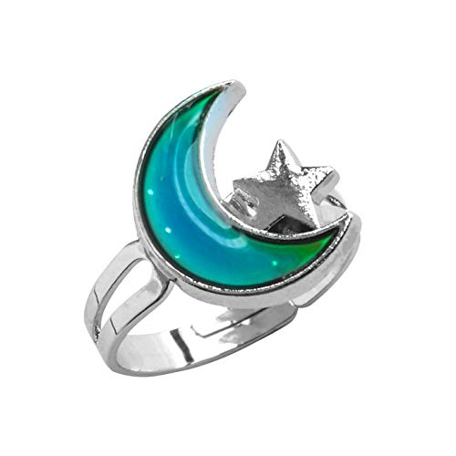 FOECBIR Mood Ring Can Change The Color and Adjustable The Size of The Decorations (Moon and Star)
