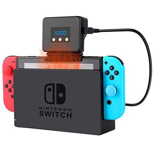 【Nintendo Switch専用】Switch冷却ファン ハイパワー スイッチ用 冷却ファン クーラー 吸熱式 扇風機 熱暴走 熱対策 温度表示 風量変更 スイッチドック 静音モデル