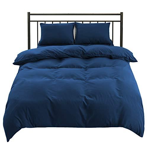 AYO 布団カバー 掛け布団カバー ふとんカバー 肌触りの良い 寝具カバー 洋式・和式兼用 通気 速乾 掛ふとんカバー ピーチスキン加工 丸洗い可能(ネイビー, シングル・150*210CM)