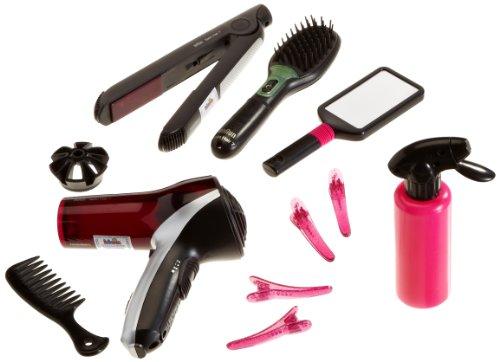 Theo Klein 5873 - bruin Satin Hair 7 Mega Set met haardroger, borstel, stijltang, handspiegel, kam, 4 haarklemmen, speelgoed