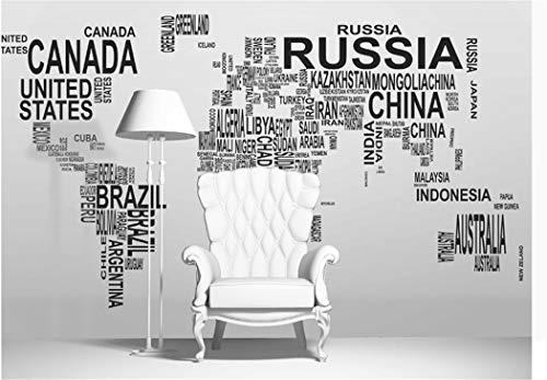 Tapete Hintergrund-Tapetenbenutzerdefinierte Fototapete Modernen Minimalistischen Stil Schlafzimmer Tapetenwandbilder Tv Sofa Englisch Alphabet Weltkarte, 400 * 280 Cm