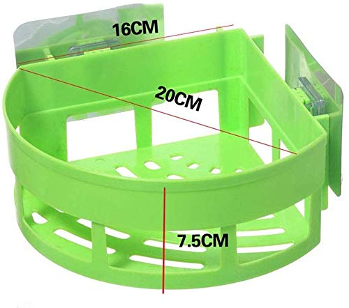 Plastic hoek nette rek sterke zuignap zonder boren bad zeep plank keuken kruiden opslag mand IC (kleur: groen) Groen