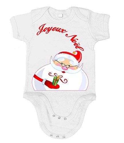 Artdiktat Bébé Organic Bodysuit - Bodys - Joyeux Noël Santa Claus le père Noël Größe 60/66, weiß