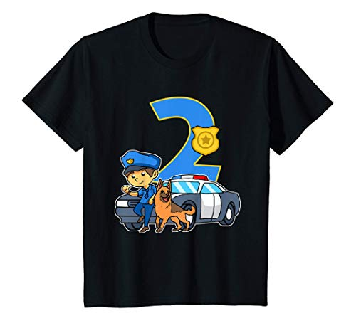 Kids Police Officer For Boys 2nd Birthday Party Supply 2 Year Old T-Shirt