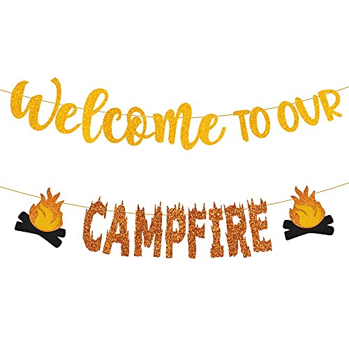 Camping Party Decorations, Welcome to Our Camp Fire Banner, camping decor, Camping Birthday party supplies for Happy Camper Decor