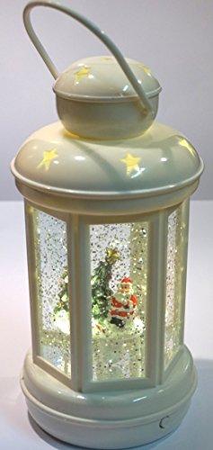 CBK-MS LED Weihnachtslaterne Santa Claus mit zirkulierendem Glitter Nikolaus Laterne batteriebetrieben