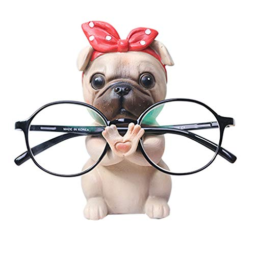 Puppy Dog Glasses Holder Stand Eyeglass Retainers Sunglasses Display Cute Animal Design Decoration (Pug)