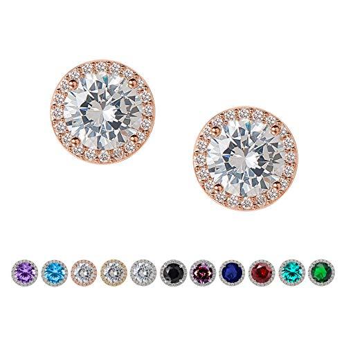 SWEETV Ohrringe Damen Zirkonia Ohrstecker, 10mm Runde geschnitten, Strass hypoallergen Ohrringe für Frauen & Mädchen, Rose Gold