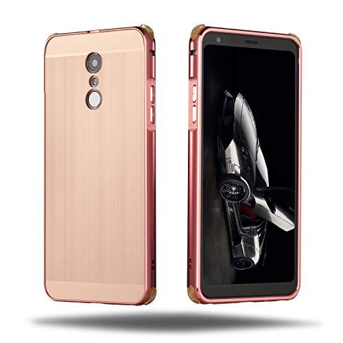 HDOMI LG Q Stylus,LG Q Stylus Plus Hülle,Abnehmbare PC Backplate + Premium Aluminiumrahmen Dual Layered Schutzhülle Stoßfest Handyhülle Cover für LG Q Stylus,LG Q Stylus Plus (Roségold)