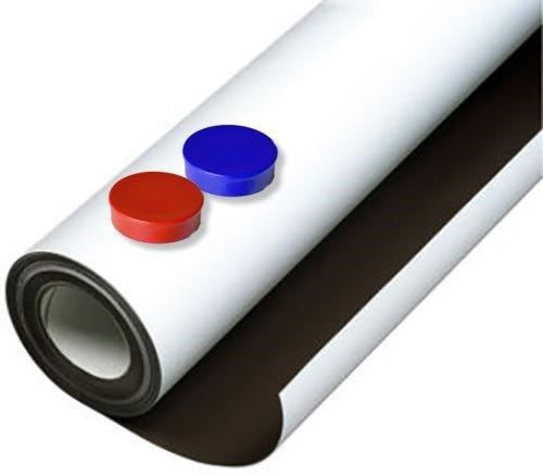 Eisenfolie Ferrofolie selbstklebend weiß matt - 0,8mm x 50cm x 50cm - mit Premium-Kleber, flexibler Haftgrund für Magnete