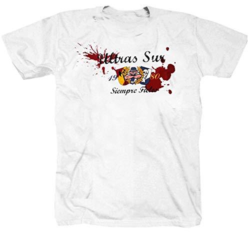 Shirtzshop Siempre Fieles Ultras Sur Madrid - Camiseta, diseño de fútbol americano, color blanco