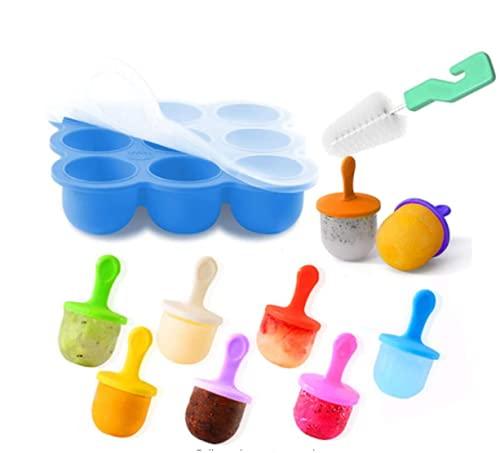 KNMY Congélation de nourriture pour bébé, moule à glace en silicone, 9 cavités, moule à glaçons avec couvercle en silicone, bac de rangement, plateau de congélation, plateau pour enfants, adultes