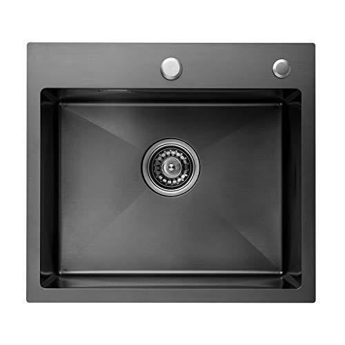 CECIPA Fregadero de acero inoxidable negro 50 cm x 45 cm, equipado con cubo de basura, dispensador de jabón y rebosadero