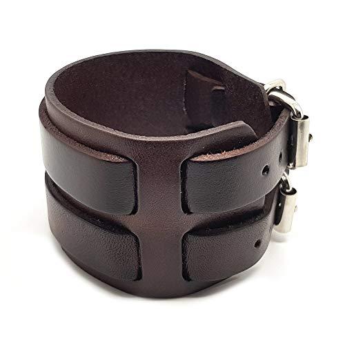 BOBIJOO Jewelry - Bracelet De Force Homme Cuir Marron Noir Acier Métal Double Rang Ceinture Vintage - (Couleur) Marron