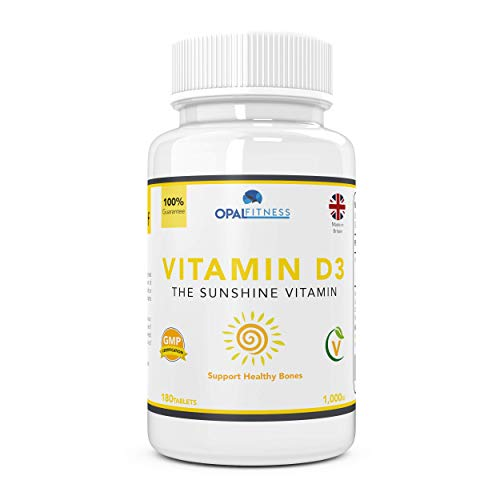 Vitamin D3 Tablets 1000iu - Supplement for Healthy Joints and Bones - 180 Pills - Opal Fitness