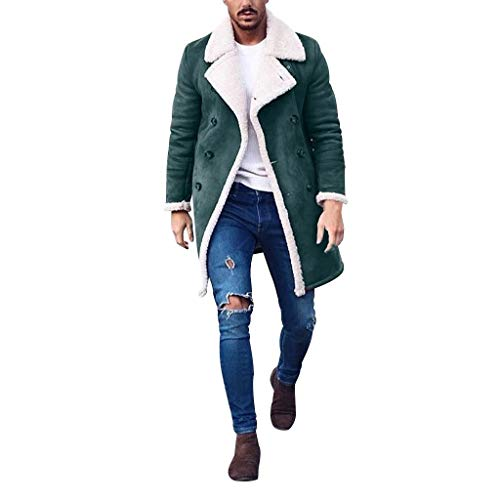 Shinehua Mannen Mantel Trenchcoat jas overgangsjas overtrek lange softshell jassen met fleece voering warme winter jas wollen mantel klassieke slim fit fleece mantel Dufflecoat