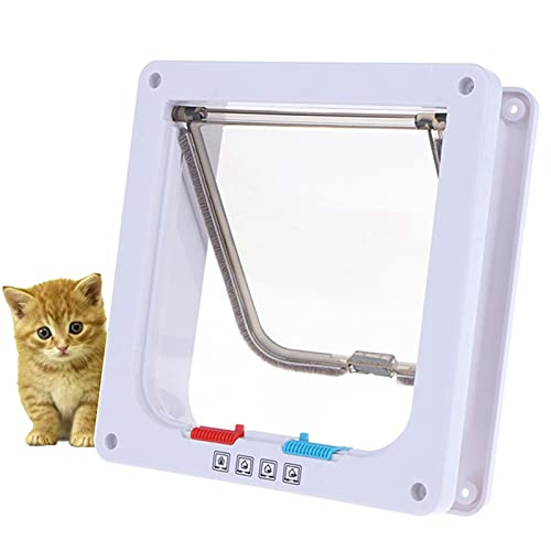 Coolsheep Puerta para mascotas para gatos, gatitos y gatitos magnética resistente a la intemperie con bloqueo de 4 vías, 3 tamaños y 2 opciones de colores
