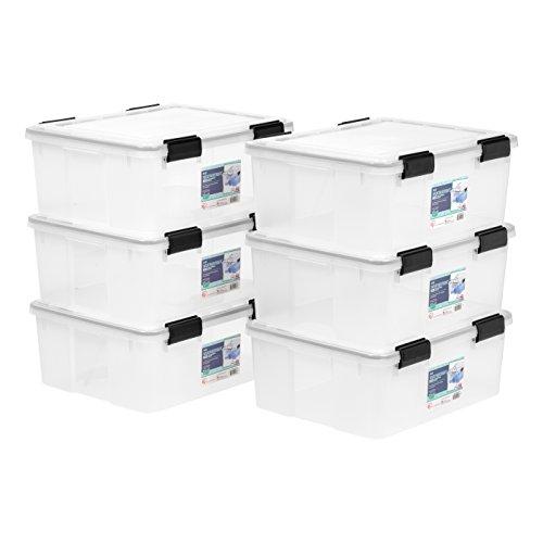 IRIS USA, Inc. USB-S WEATHERTIGHT Storage Box, 6 Pack, 30.6 Quart, Clear