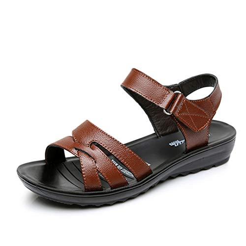 Sandalias de Cuero de Las Mujeres del Verano de la Vendimia Plana Suave Inferior Zapatos Mujer Correa del Tobillo de Moda Plataforma Informal Sandalias de Estilo básico