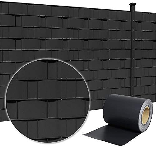 LZQ PVC Sichtschutzstreifen Sichtschutzfolie Extra dick Blickdicht Sichtschutz Streifen Doppelstabmattenzaun Zaunfolie mit 20 Befestigungsclips für Gartenzaun, Balkon (35m x 19cm, Anthrazit)