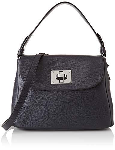 Joop! Schultertasche Chiara Mila aus Leder Damen Handtasche mit Überschlag, Blau (Darkblue)