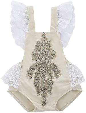 Newborn Toddler Baby Girl Bodysuit Ruffled Lace Embroidered One Piece Onesie Short Sleeve Summer product image