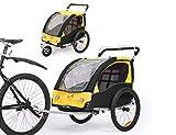 Fiximaster 360 ° Giratorio Niños Bicicletas Remolque Transporte Buggy Carrier Dos Asiento Bebé Niños con Mango Freno y Rueda Protector BT502 Amarillo