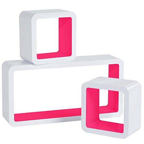 WOLTU RG9229pk Wandregal Cube Regal 3er Set Würfelregal Hängeregal, weiß-pink