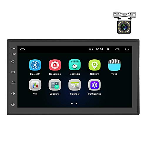 Autoradio Android 2 Din GPS CAMECHO Bluetooth WiFi recopie de l'écran capacitif de Lecteur de Radio FM à écran Tactile capacitif de 7 Pouces pour téléphones iOS Android + caméra de recul