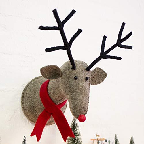 Super large Reindeer Head Wall Decoration Fabric Felt Christmas Stag Rudolf Plaque