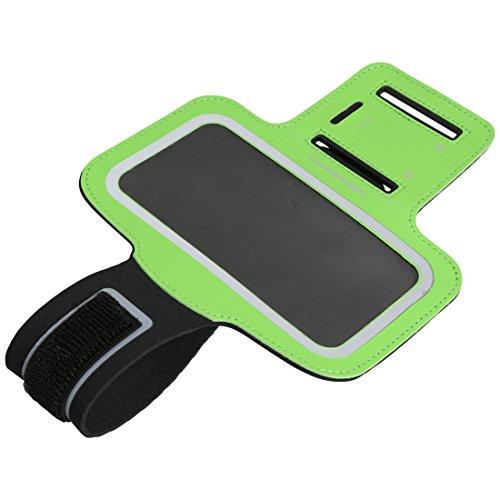 Ultrasport - Funda brazalete de neopreno con compartimento para teléfono móvil, 4 pulgadas, color verde