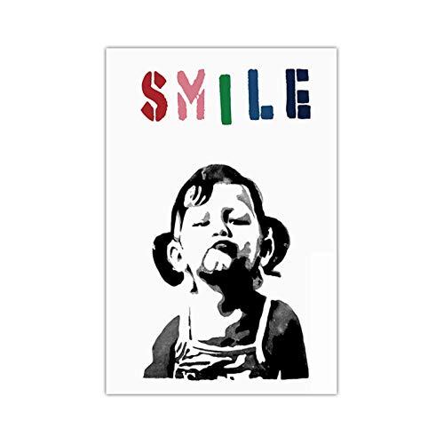 Mxibun Aesthetic Abstract Cute Girl Smiling Canvas Pinturas Wall Art Prints Poster Living Room Decoración Pinturas decorativas Wall Home Decor-50X70Cmx1 Sin marco