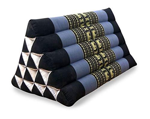 livasia Großes Dreieckskissen als Rückenstützkissen, Thaikissen BZW. Keilkissen, Nackenkissen für das Bett (blau/Elefanten)