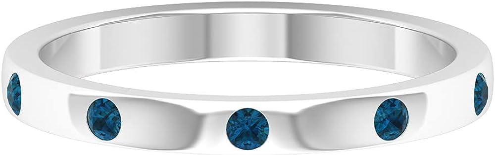 Flush Set London Blue Topaz Gold Unisex Band Ring,14K White Gold,London Blue Topaz,Size:US 8.50