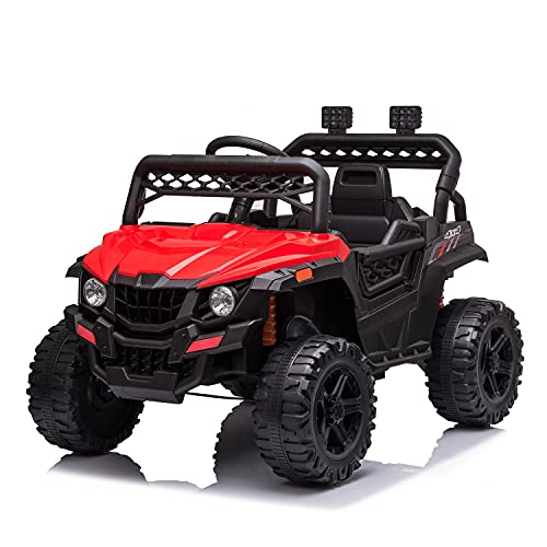 JIMIPARK 12V Electric Ride on Cars, Realistic Off-Road UTV, Ride On Truck, Motorized Vehicles for Kids 2.4GHz Remote Control, with Music, Story, Wearable Wheels, 3 Speed, Spring Suspension, LED Light -  JIMUPARK, JIMU-W42229256